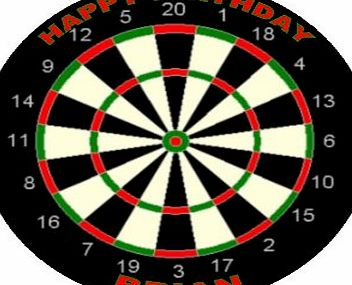 cake pics n parties by post Dart Board Edible Icing Cake Topper Circle 7.5``/19cm [Please use the Contact Seller in the Your Orders section of Amazon to tell us the wording required on your topper.]